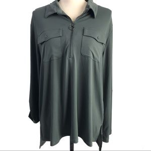 Kenneth Cole Gray/Green Zip Front Long Sleeve Top